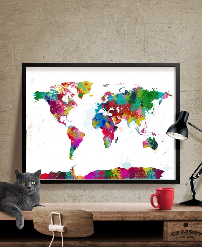 Big Canvas Art Modern Watercolor Abstract Ink Splash Big: Splash World Map Colorful World Map Ink Splash World Map