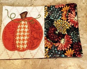 Pumpkin Mug Rug, Large Coaster, Pumpkin, Teacher Gift, Thank You Gift, Gift exchange, Hostess Gift, Fall Decoration, Table Decoration