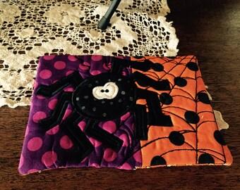Halloween Mug Rug, Spider, Coaster, Teacher Gift, Halloween Gift, Fall Gift, Halloween Decoration, Fall Decoration