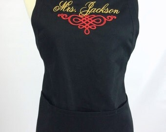 Embroidered Name Apron, 6 colors