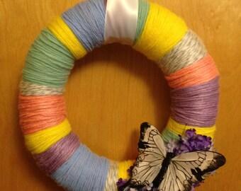 10 Inch Butterfly Yarn Wreath