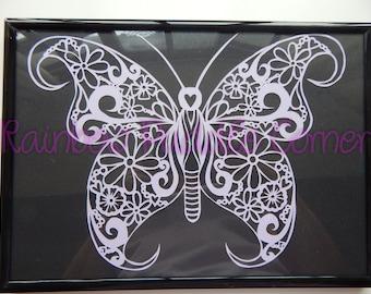Butterfly papercut A4, hand cut paper cut, unique papercutting, butterfly, flowers decoration,