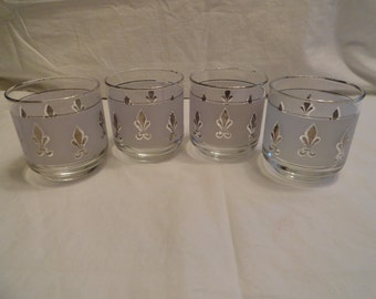 Set of Four Silver Frosted Glasses
