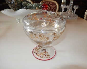 ITALY GLASS COMPOTE with Lid