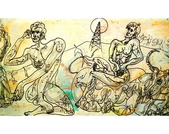 Peace Time-1. Giclee Fine Art Print, Expressionism, Wall Art, Drawing