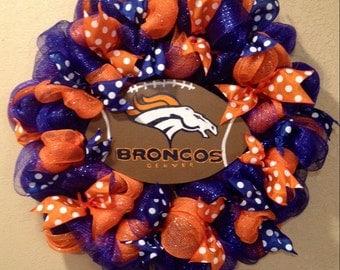 Denver Broncos wreath, football wreath, blue and orange broncos wreath, Denver Broncos front door decoration, broncos front door wreath