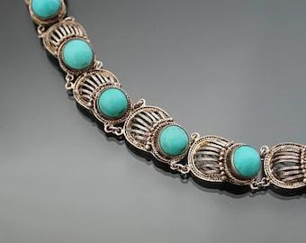 China. Turquoise Bracelet. Filigree. Silver 835. Chinese Export.