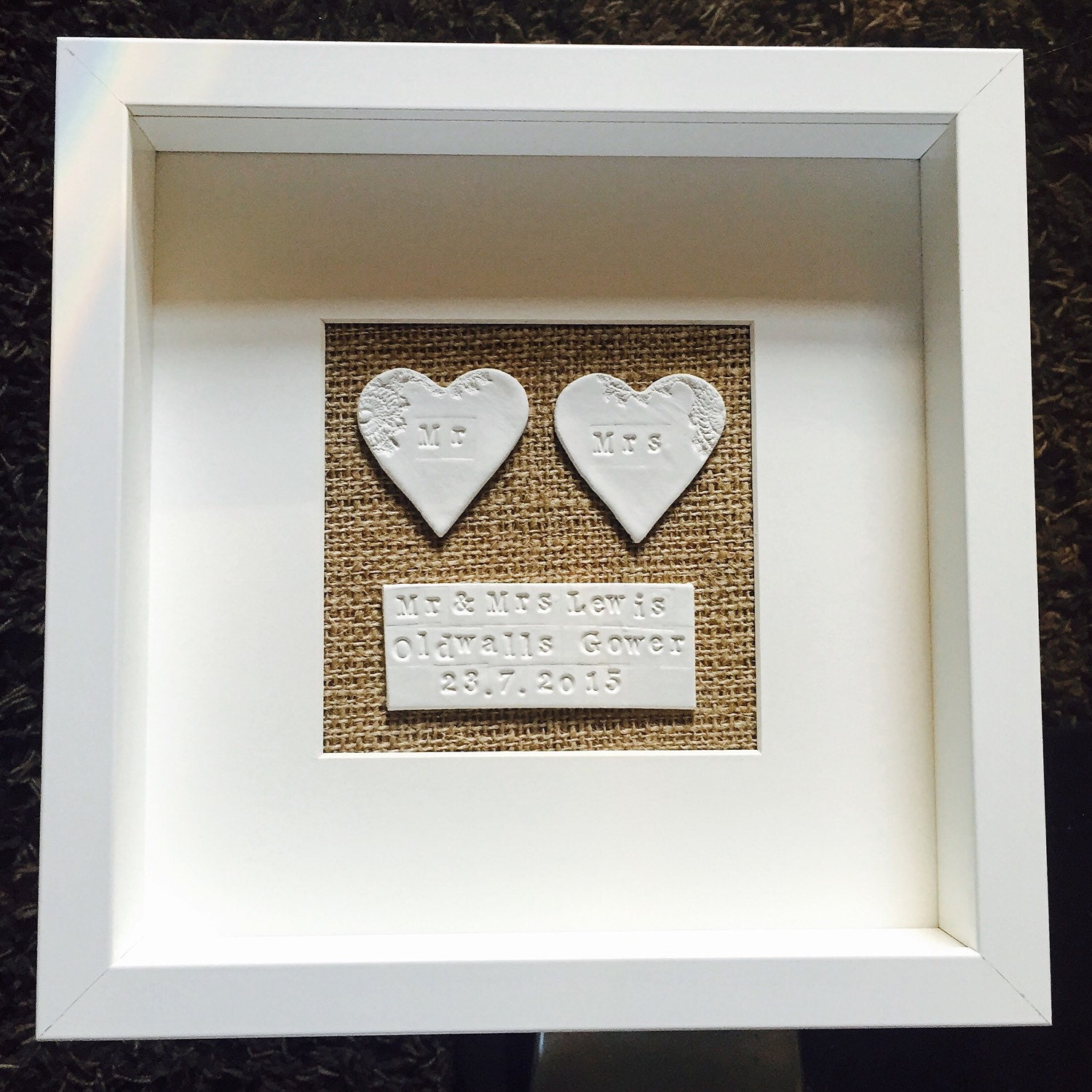 Personalised Mr Amp Mrs Framed Clay Wedding Gift Anniversary