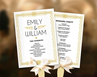 Wedding fans Great Gatsby program template DIY. Roaring twenties fan program. Art deco program. Old Hollywood. Gatsby editable pdf template.