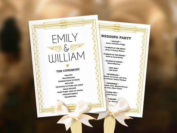 wedding program fans wedding fans great gatsby program template diy roaring 12386