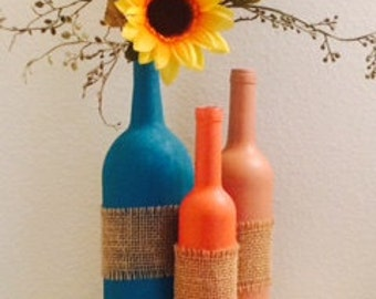 Hand Painted Decorated Bottles/Vases(set of 3)
