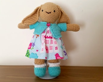 Charlotte.  beautiful handmade, crocheted rabbit or bunny. Artist, OOAK, princess, enchanted, pink, frilly, girly.