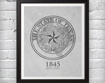 State Seal of Texas 1845 28th State Black White Print Wall Art Decor Photo Print