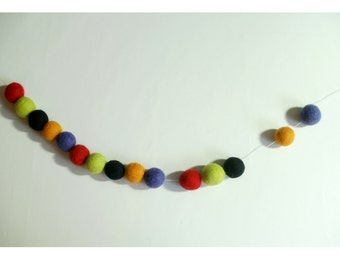 Halloween  garland - bunting- billy ball garland - felt ball garland