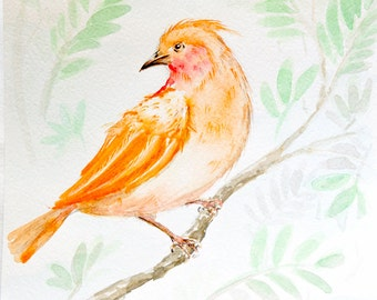 ORIGINAL painting, Small bird on a branch watercolor painting, ORIGINAL watercolor bird painting, bird watercolor painting