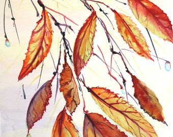 Autumn leaves watercolor painting Original watercolor painting Nature painting Fall tree branch Leaf painting Original art Autumn painting