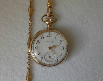 1906 Elgin Pocket Watch and Chain, Gold Filled Pocket watch, Monogrammed Pocket watch, Ladies Antique Pocket watch, Antique Elgin Watch