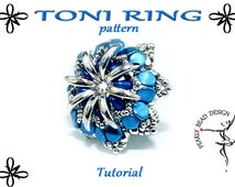 TONI RING pattern tutorial with crescent and pinch beads