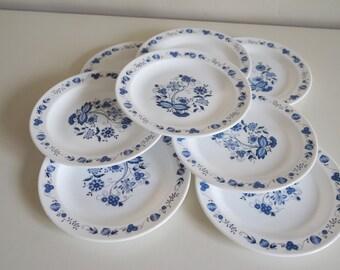 Vintage 70' lot of 4 Arcopal France blue flowers dessert plates