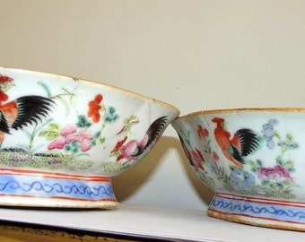 Sale ! Pair of 1850-1899 Tongzhi  Farm Rose Roosters Bowls