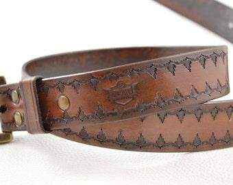 Handmade, tooled leather belt