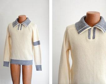 """1970s Collegiate Cream and Blue Striped Sweater - 40"""" Chest"""