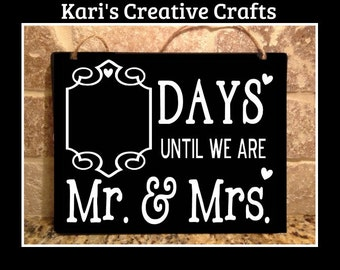 Wedding Countdown Chalk Board, Wedding, Mr and Mrs Hanging Chalkboard, countdown sign, Engagement Gift, Bride, Bridal Shower Gift