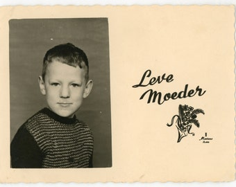 Long live mum! - original 60s vintage real photo holiday card- mother's day- boy portrait- paper ephemera