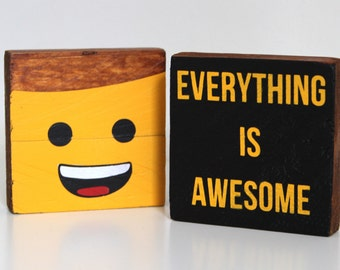 Lego Movie - Emmet - Everything is Awesome - Painted Wood Ornament - Fan Art - Lego Art - Gift for Kids