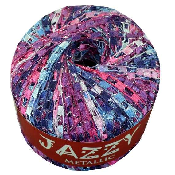 Jazzy Metallic Ladder Yarn 15 Blueberry Parfait Ribbon