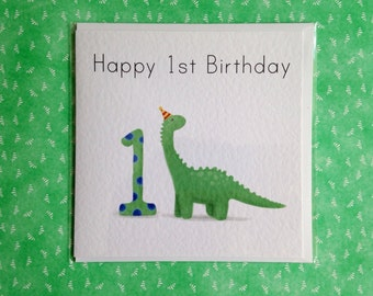 1st Birthday Card - Adorable Dino