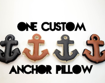 Anchor Pillow, Crochet Edging & Faux Leather, One Made To Order