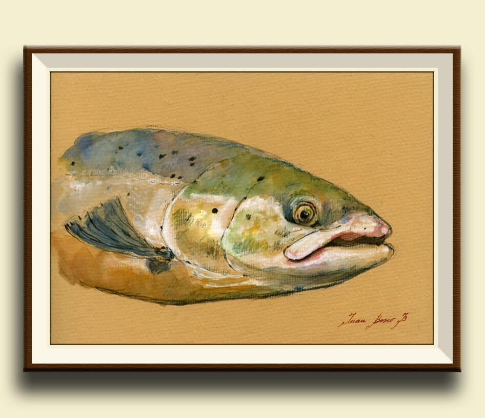 Atlantic Salmon Fish Fish Watercolor Animal Decor Salmon