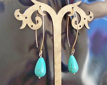 Handmade Sterling silver earrings with turquoise