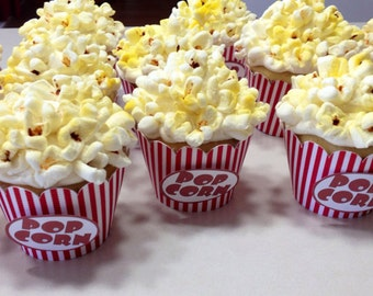 Popcorn Cupcake Wrappers, set of 12