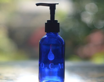 O.C.M (Oil Cleansing Method)- 4 oz Etched Glass bottle with pump. Perfect for Essential oil based blends.