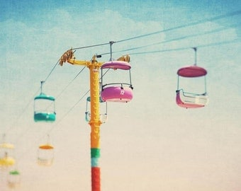 Carnival Photography, Carnival Picture, Nursery Wall Art, Fine Art Photography, Sky Glide, Sky Buckets, Carnival Photograph, Summer Wall Art
