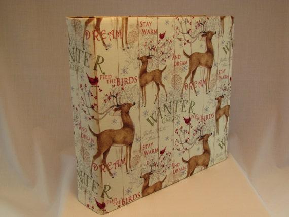 12x12 Postbound Fabric Scrapbook Photo Album Memory Merry Christmas Holiday Wishes Happy Deer Joy Snow Winter Garden Album Outfitters AO43