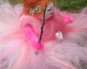 Unique Wool Felt Fairy. Rose Petal Faerie