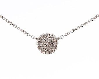 14k Gold Mini Disc Diamond Necklace