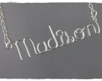 Madison Wire Word Name Pendant Necklace