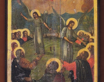 The Ascension of the Lord. Christian orthodox icon.FREE SHIPPING