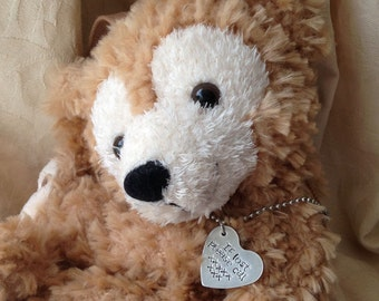 Lost Toy Tag, Teddy Bear label, if lost call, personalised aluminium heart shaped pendant, security tag for favourite cuddlies on ball chain
