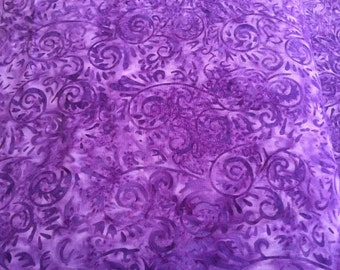"Island Batik ""Purple Swirl"" Fabric -One Yard Cut, purple batik"