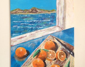 Original acrylic painting, oranges on a boat, 24x18 canvas, Bradley pearson
