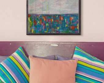 Colourful abstract painting, original acrylic painting, 20x20 canvas