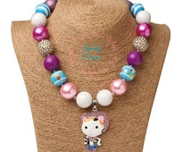 FREE SHIP Sheriff Callie Inspired Bubblegum Chunky Bead Necklace