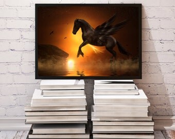 Pegasus poster Atmosphere decor Horse print