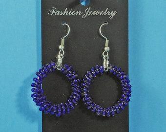 authentic Native American earrings hoop earring beaded earings silver hooks dark navy blue Native jewelry