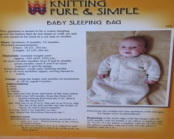 Knitting Pure And Simple Pattern Errata : Baby Sleeping Bag Knitting Pattern by by JubeeThreadAndThrift